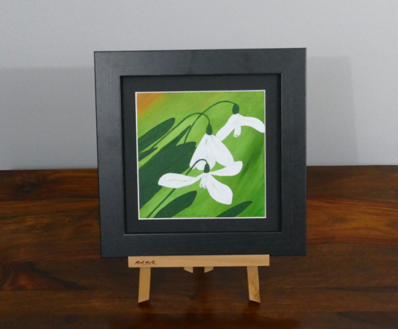 Snowdrops acrylic painting, available to purchase