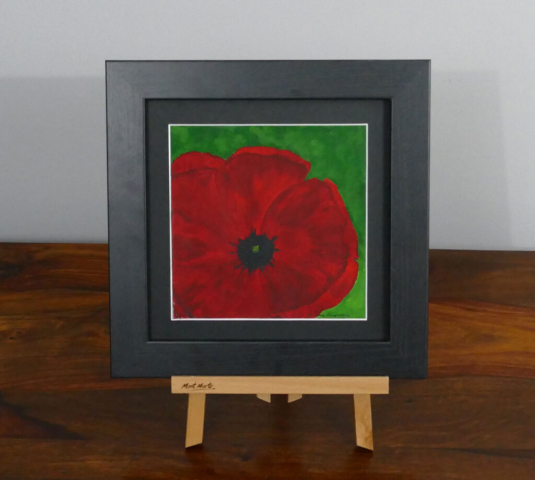 Red poppy acrylic painting, available to purchase