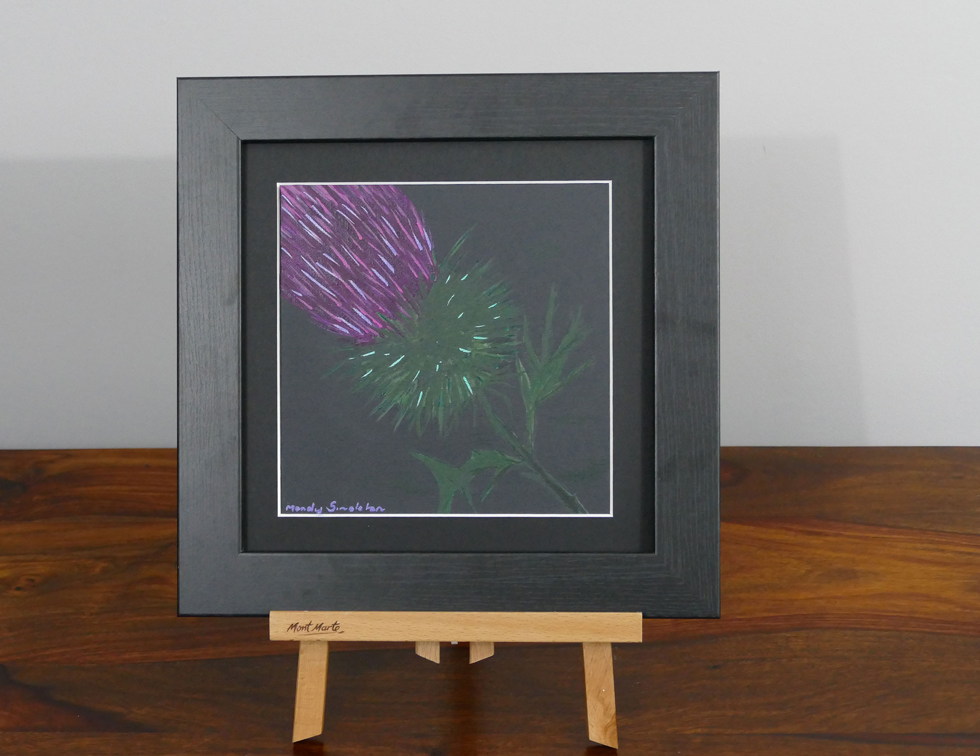 Thistle on black acrylic painting, available to purchase