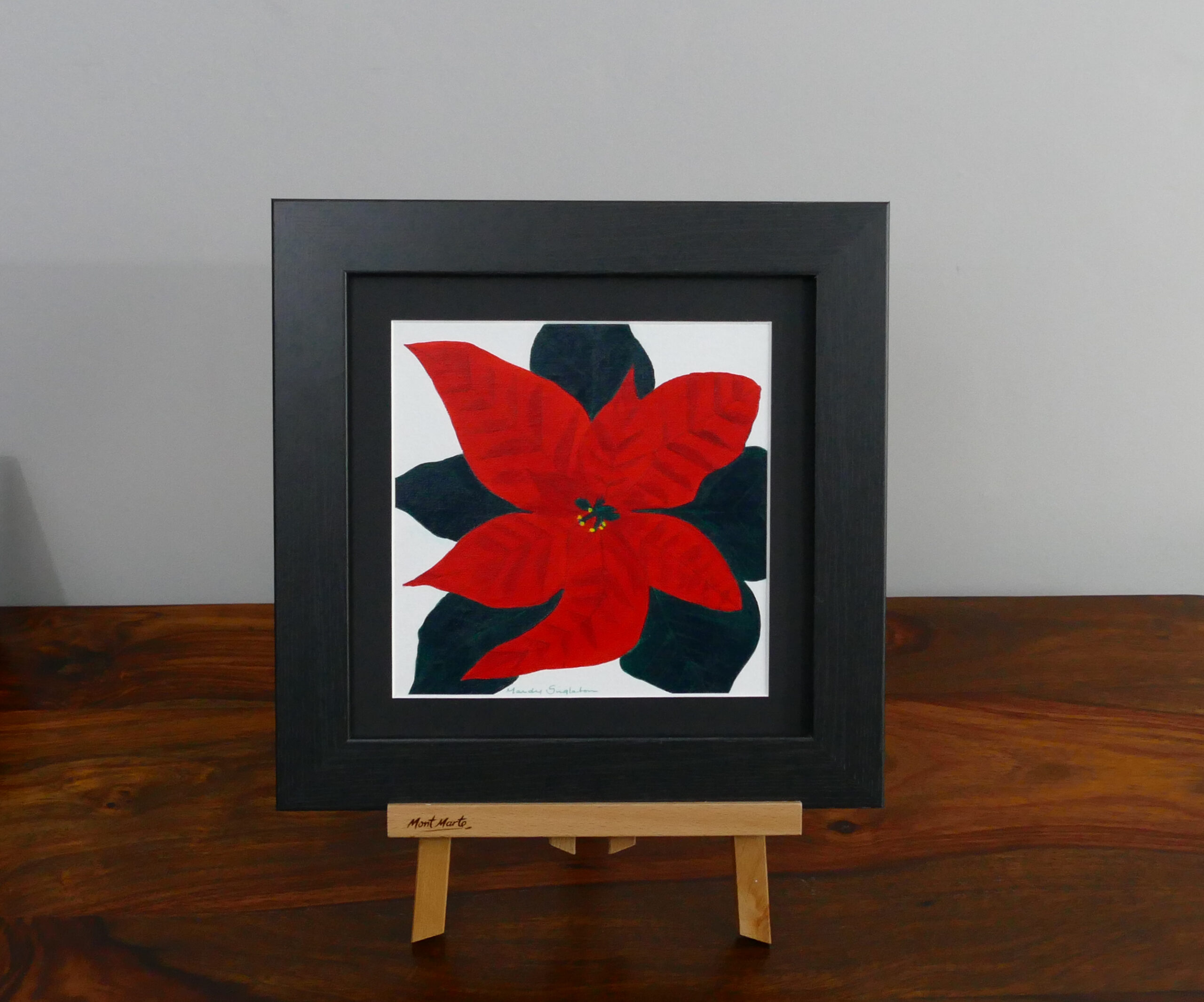 Poinsettia acrylic painting, available to purchase