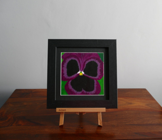 Purple Pansy acrylic painting, available to purchase