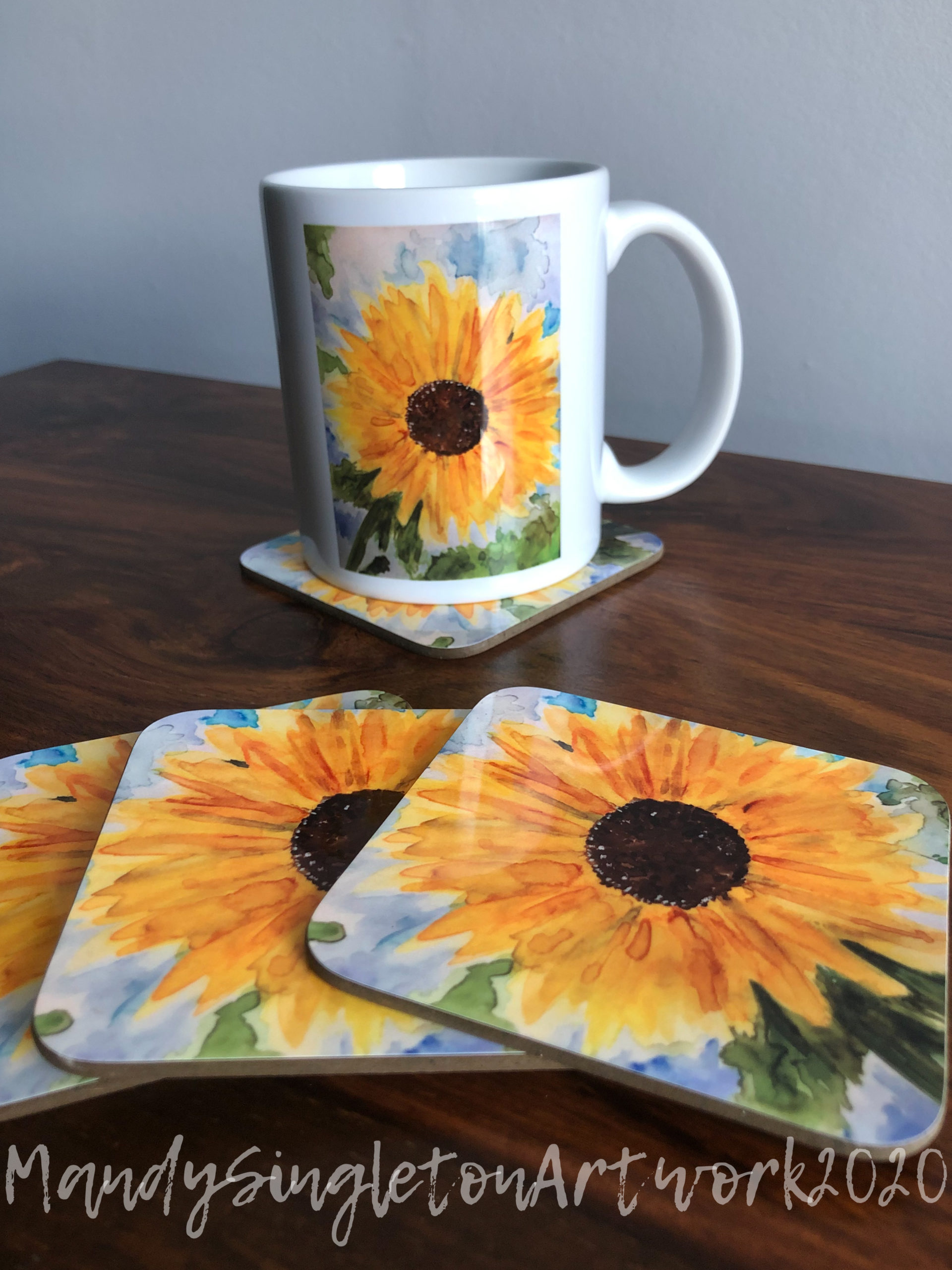 Sunflower Mug and Coasters
