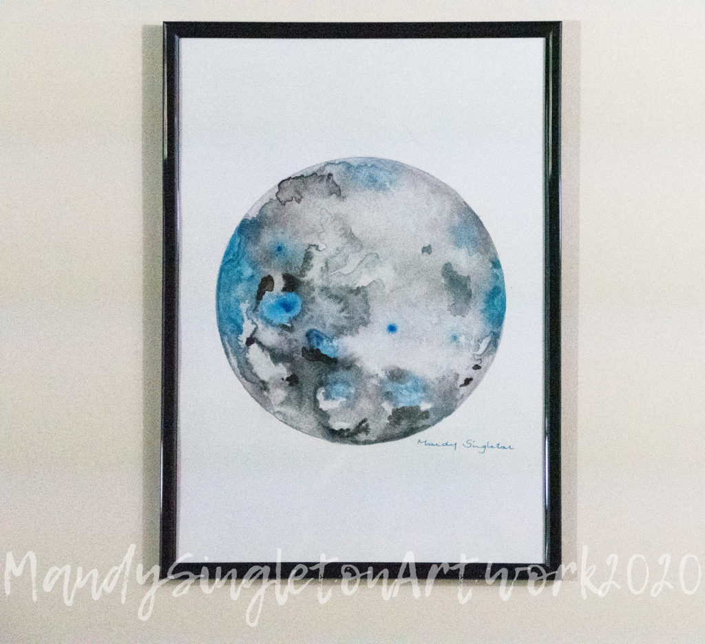 Grey and Blue Abstract Moon Available to Purchase