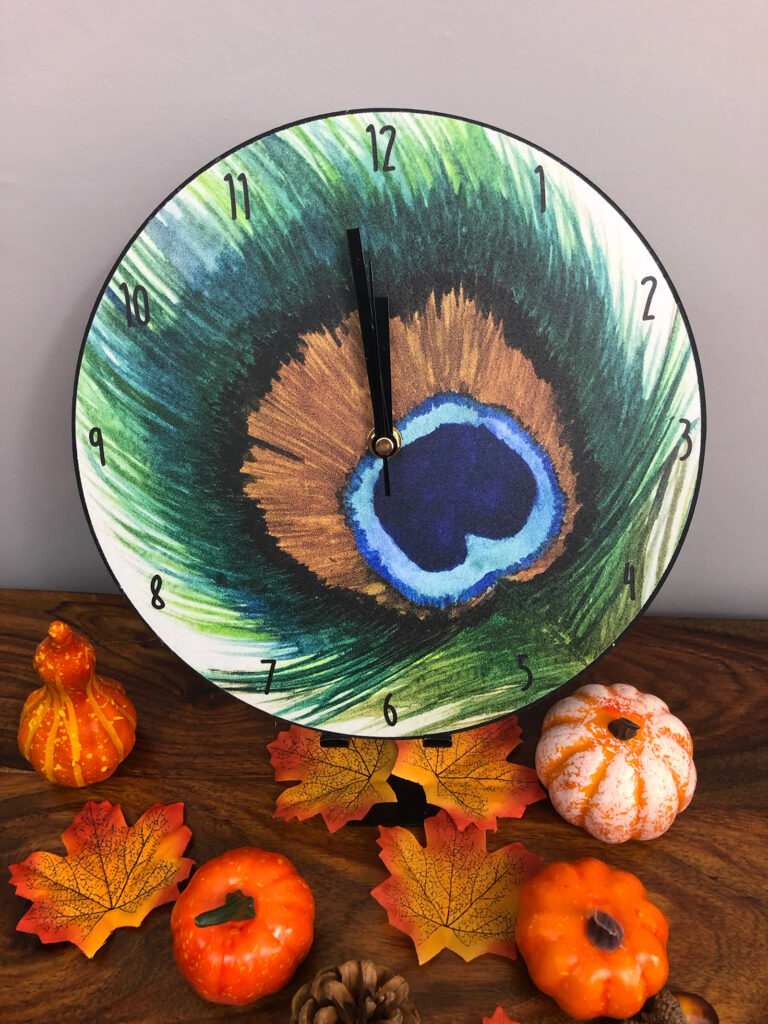 Peacock Feather Clock