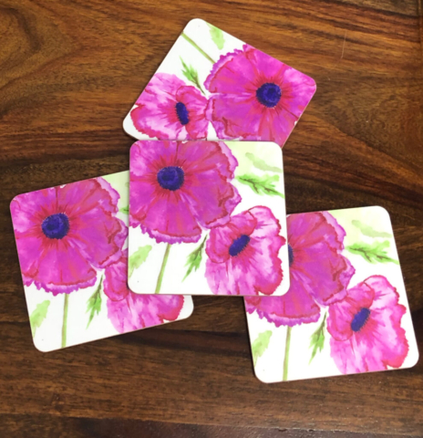 Coasters - Pink Poppies Icelandic Poppies
