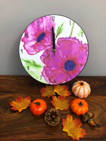 Pink Icelandic Poppies clock