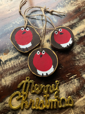 Handpainted Robins - Decorations