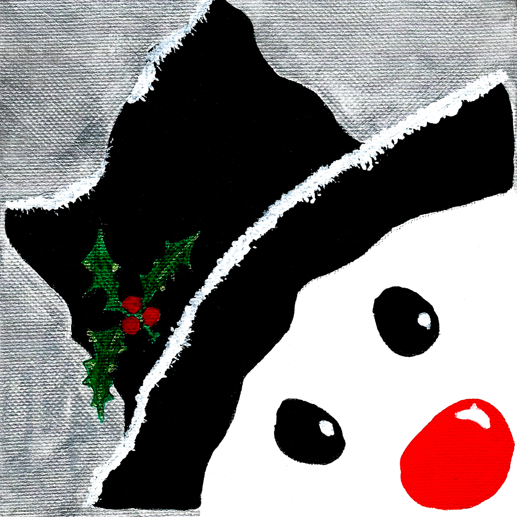 Snowman - Acrylic on canvas 15 x 15cm