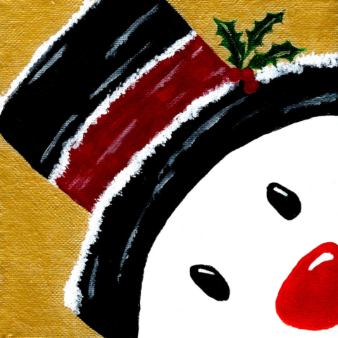 Snowman painting - Acrylic on canvas. 15 x 15cm
