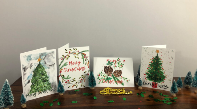 Christmas Cards - Watercolour range. Set of 4