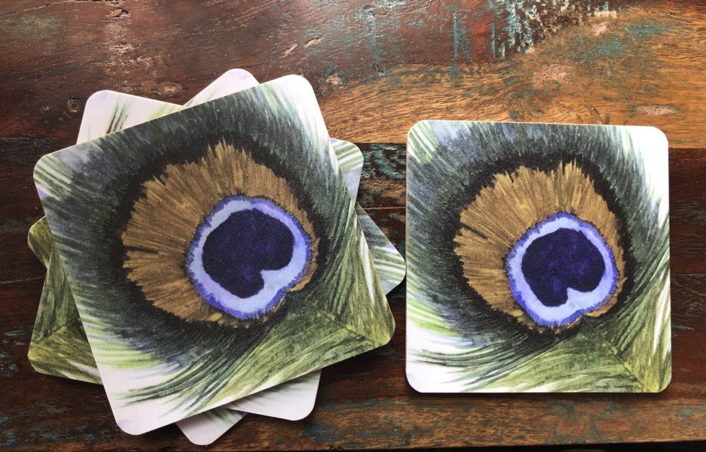 Peacock Feather Design Coasters