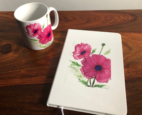 Mug and Notebook Pink Poppies design