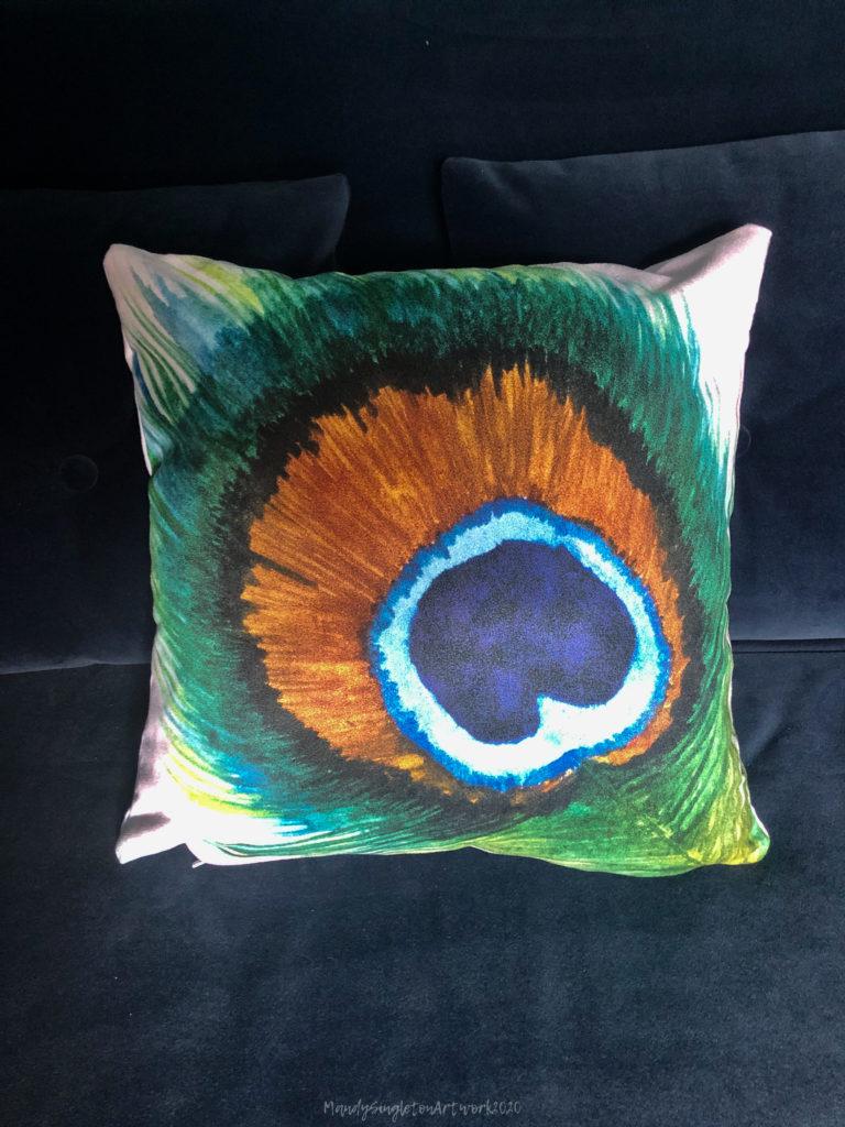 Peacock Feather Cushion